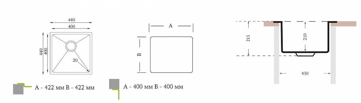 Кухонная мойка оптима 400.400 леруа мебель для ванной комнаты